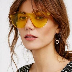 Free People Spectrum Acrylic Rimless Sunglasses